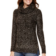 St. John's Bay® Long-Sleeve Marled Tunic Sweater