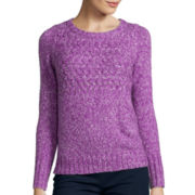 St. John's Bay® Long-Sleeve Marled Sweater - Petite