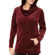 Made For Life™ Velour Metallic-Striped Cowlneck Tunic - Tall
