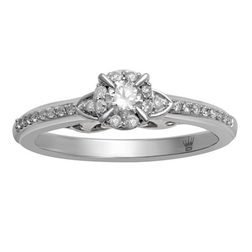 Hallmark Bridal Womens 1/3 CT. T.W. Round White 10K Gold Engagement Ring