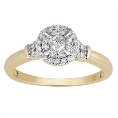 jcpenney.com | Hallmark Bridal Womens 1/3 CT. T.W. Round White 10K Gold Engagement Ring