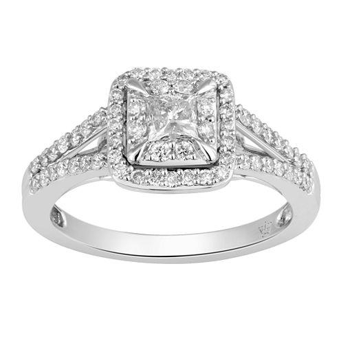 Hallmark Bridal Womens 3/4 CT. T.W. Princess White Diamond 10K Gold Engagement Ring