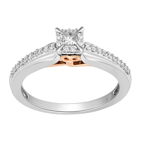 Hallmark Bridal Womens 1/3 CT. T.W. Princess White Diamond 10K Gold Engagement Ring