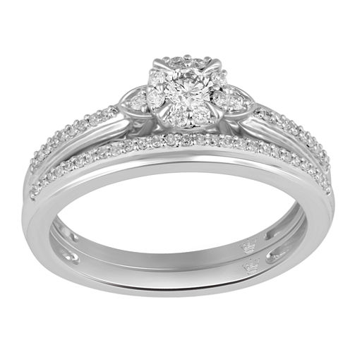 Hallmark Bridal Womens 1/3 CT. T.W. White Diamond 10K Gold Bridal Set