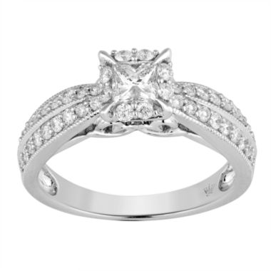 jcpenney.com | Hallmark Bridal Womens 1 CT. T.W. Princess White Diamond 10K Gold Engagement Ring