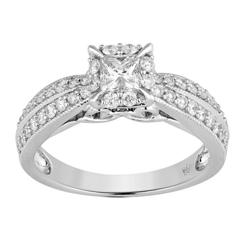 Hallmark Bridal Womens 1 CT. T.W. Princess White Diamond 10K Gold Engagement Ring