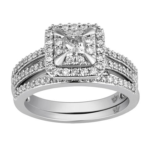 Hallmark Bridal Womens 1 CT. T.W. White Diamond 10K Gold Bridal Set