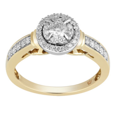 jcpenney.com | Hallmark Bridal Womens 1/2 CT. T.W. Round White Diamond 10K Gold Engagement Ring