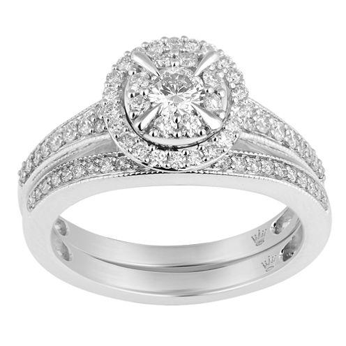 Hallmark Bridal Womens 3/4 CT. T.W. White Diamond 10K Gold Bridal Set