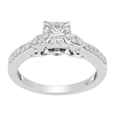 jcpenney.com | Hallmark Bridal Womens 1/2 CT. T.W. Princess White Diamond 10K Gold Engagement Ring