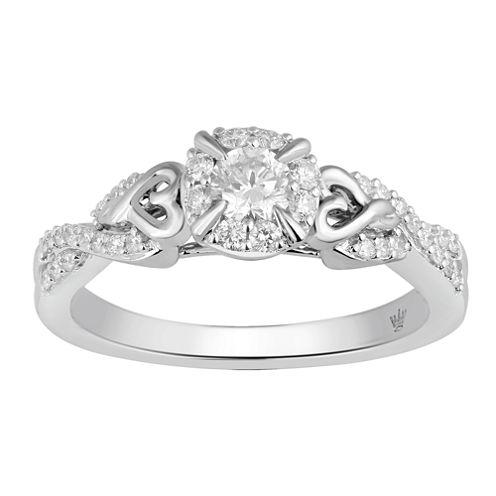 Hallmark Bridal Womens 1/2 CT. T.W. Round White Diamond 10K Gold Engagement Ring