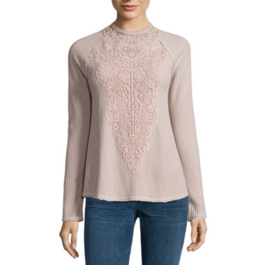 jcpenney.com | Hint of Mint Long Sleeve Keyhole Neck Blouse-Juniors