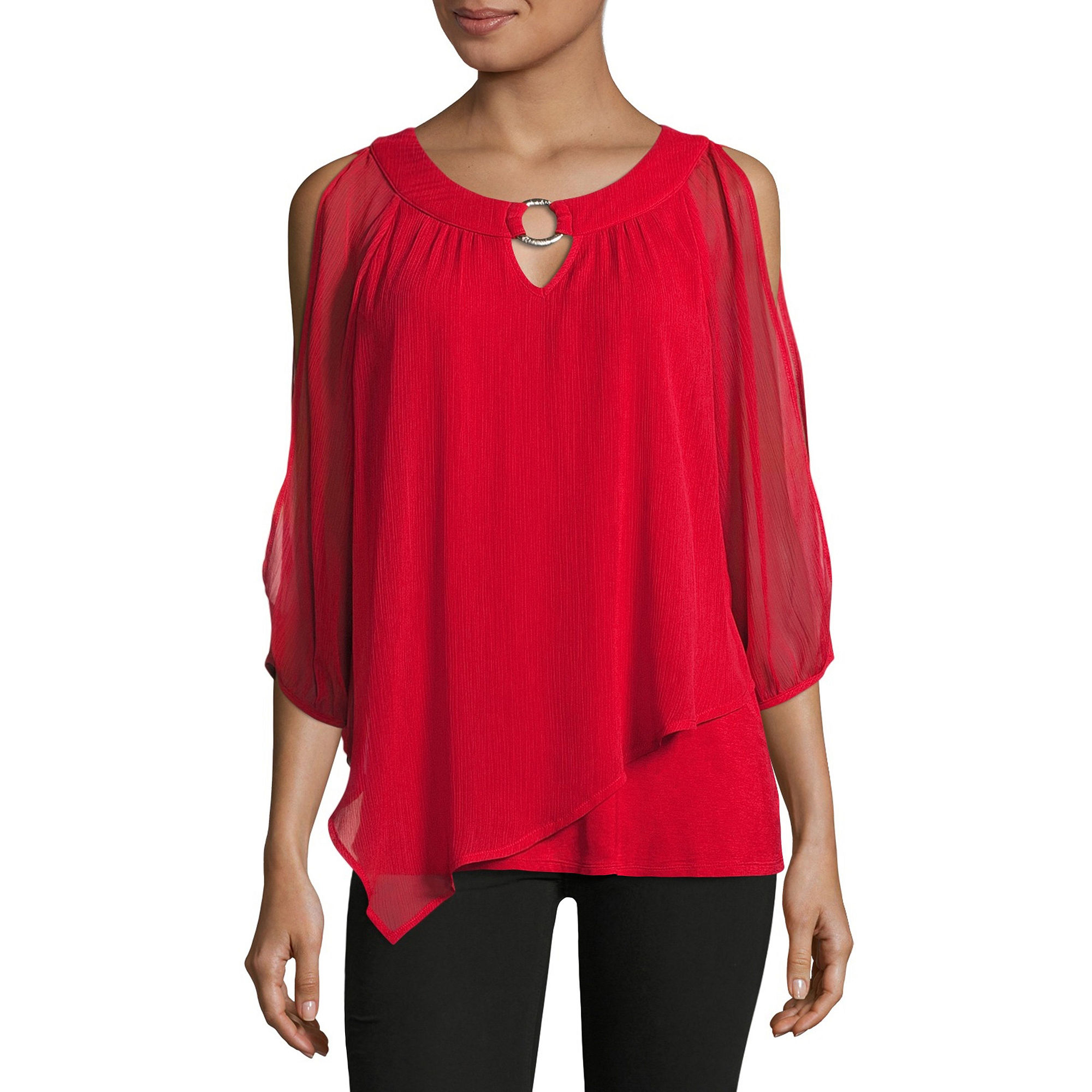 by & by 3/4 Sleeve Chiffon Blouse-Juniors