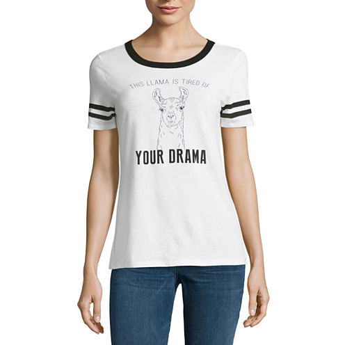"""This llama is tired of your drama"" Graphic T-Shirt- Juniors"