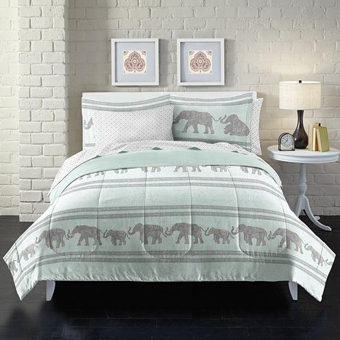 Loft Style Boho Elephant Complete Bedding Set with Sheets