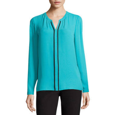 jcpenney.com | Liz Claiborne Long Sleeve Split Crew Neck Woven Blouse