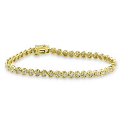 Fine Jewelry Womens 7 Inch 2 CT. T.W. White Diamond 14K Gold Link Bracelet Of0BIS7jM