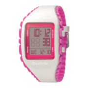 Reebok® Workout Z1G Womens White Silicone Strap Chronograph Sport Watch