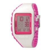 Reebok® Workout Z1G Womens White Silicone Strap Chronograph Sport Watch