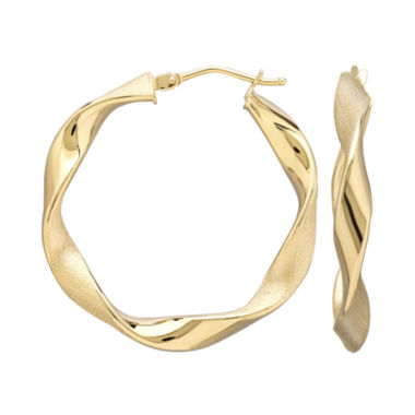 jcpenney.com | Infinite Gold™ 14K Yellow Gold Wavy Hoop Earrings
