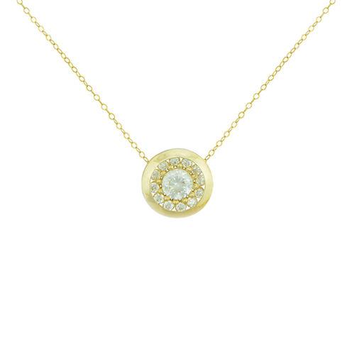 Petite Lux™ Cubic Zirconia 10K Yellow Gold Round Bezel-Set Necklace