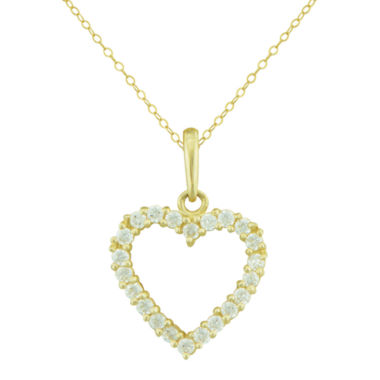 jcpenney.com | Petite Lux™ Cubic Zirconia 10K Yellow Gold Heart Pendant Necklace