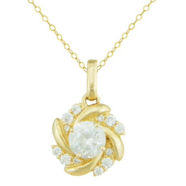 jcpenney.com | Petite Lux™ Cubic Zirconia 10K Yellow Gold Swirl Pendant Necklace