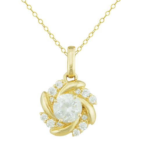 Petite Lux™ Cubic Zirconia 10K Yellow Gold Swirl Pendant Necklace