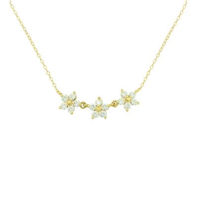 Fine Jewelry Petite Lux Cubic Zirconia 10K Yellow Gold 3-Flower Necklace aJsKhcjQFx