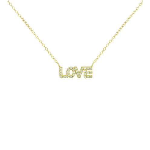 "Petite Lux™ Cubic Zirconia 10K Yellow Gold ""Love"" Necklace"