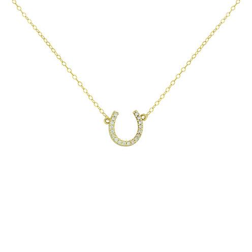 Petite Lux™ 10K Yellow Gold Cubic Zirconia Horseshoe Pendant Necklace