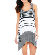 Porto Cruz® Striped Sharkbite Tank Dress Cover-Up