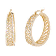 Cubic Zirconia Yellow Gold Over Brass Open Wave Hoop Earrings