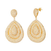 Cubic Zirconia Yellow Gold Over Brass Teardrop Earrings