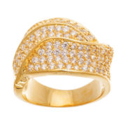 Cubic Zirconia Yellow Gold Over Brass Swirl Ring