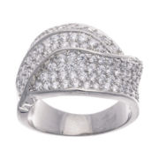 Cubic Zirconia Silver Over Brass Swirl Ring