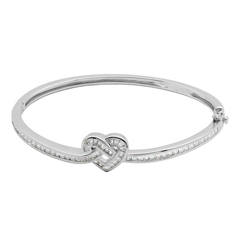 DiamonArt® Cubic Zirconia Sterling Silver Heart Bangle