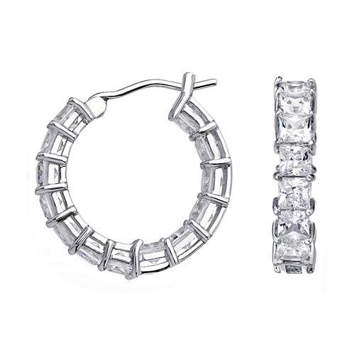 DiamonArt® Cubic Zirconia Sterling Silver Huggie Hoop Earrings