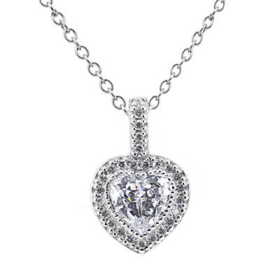 Sterling silver diamonart halo heart pendant 1 diamonart cubic zirconia sterling silver heart halo pendant necklace aloadofball Choice Image