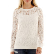 a.n.a® Long-Sleeve Lace Sweatshirt - Tall