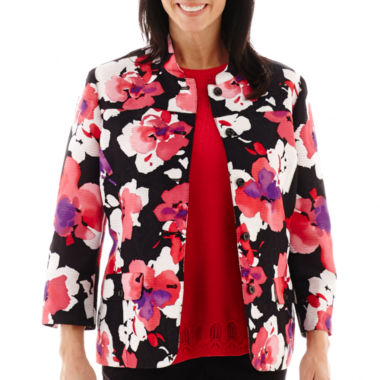 jcpenney.com | Alfred Dunner® Play On Color 3/4-Sleeve Floral Print Jacket