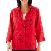 Alfred Dunner® Play On Color 3/4-Sleeve Floral Burnout Layered Top with Necklace
