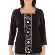 Alfred Dunner® Play On Color 3/4-Sleeve Beaded-Center Knit Top