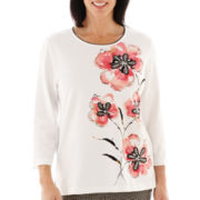Alfred Dunner® Play On Color 3/4-Sleeve Floral Appliqué Knit Top