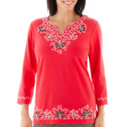 Alfred Dunner® Play On Color 3/4-Sleeve Embroidered Yoke Knit Top