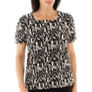 Alfred Dunner® Play On Color Short-Sleeve Tiered-Ruffle Zebra Print Knit Top