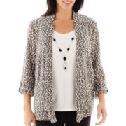 Alfred Dunner® Play On Color 3/4-Sleeve Layered Sweater with Necklace
