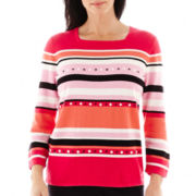 Alfred Dunner® Play On Color 3/4-Sleeve Beaded Striped Sweater
