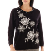 Alfred Dunner® Play On Color 3/4-Sleeve Asymmetrical-Embroidered Sweater