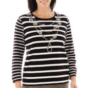 Alfred Dunner® Play On Color 3/4-Sleeve Necklace Striped Sweater